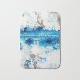 Blue Skies: a pretty, minimal abstract mixed-media piece in blue, white and gold Bath Mat