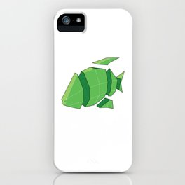 Illustration of a 3D Paper Craft Fish Model iPhone Case