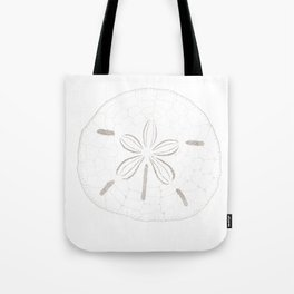 Sand Dollar Dreams - Brown on White Tote Bag
