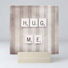 Hug Me Photography, Brown Neutral Love Photograph Mini Art Print