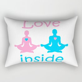 Love inside - a couple of yogis in the Lotus position meditate at  Valentine's day with hearts Rectangular Pillow