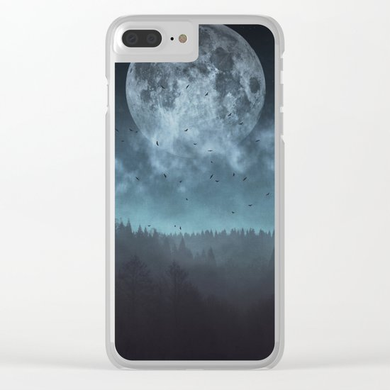 Moon over Trees Clear iPhone Case