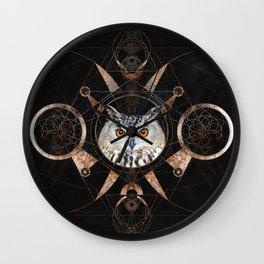 Owl Sacred Geometry Digital Art 2 Wall Clock