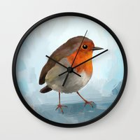 robin williams Wall Clocks featuring Robin by Freeminds