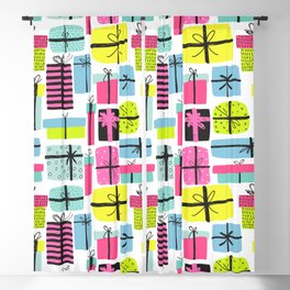 Hot pink yellow teal hand painted christmas presents Blackout Curtain