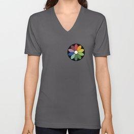 Flower pattern based on James Ward's Chromatic Circle (vintage wash) Unisex V-Neck
