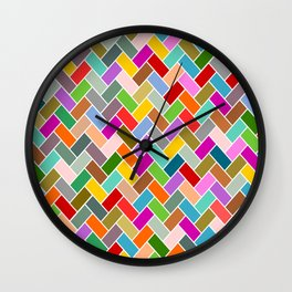 Colourful Tiled Mosaic Pattern Wall Clock