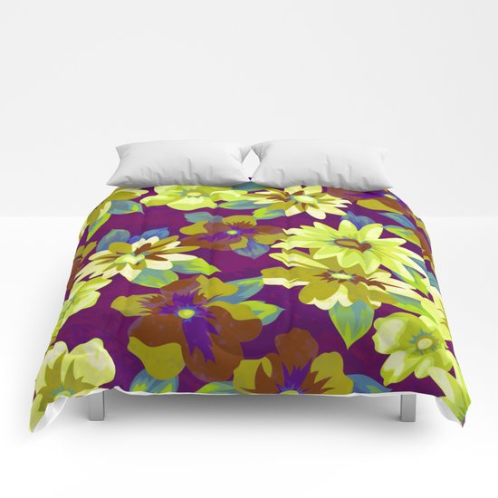 floral pattern on purple background Comforters