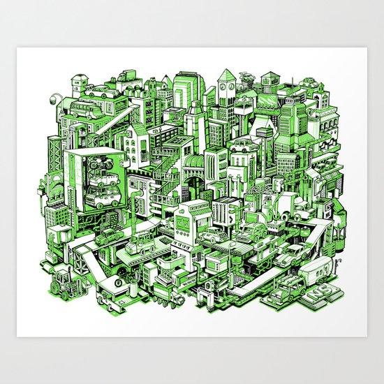 City Machine - Green Art Print