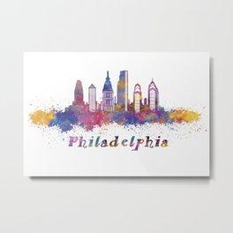 Philadelphia skyline in watercolor Metal Print