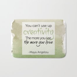 Inspirational Quote - Maya Angelou - Watercolor Bath Mat