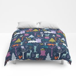winter woodland animals Comforters