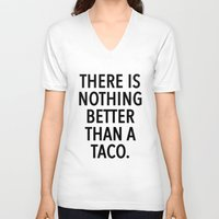taco V-neck T-shirts featuring taco by ClicheZero