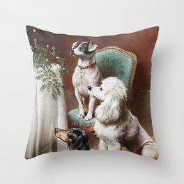 Christmas Dogs Throw Pillow