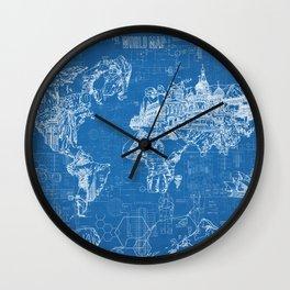 world map blue print Wall Clock
