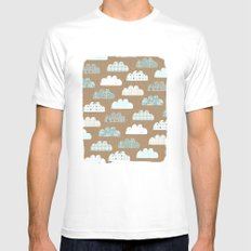 clouds pattern MEDIUM Mens Fitted Tee White