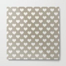 Gray Grey Alabaster Hearts Metal Print