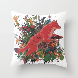 dream of red wolf Throw Pillow