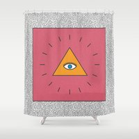 all seeing eye Shower Curtains featuring All Seeing Eye by Work and Subtraction