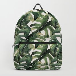 Gold Tipped Monstera Pattern Backpack