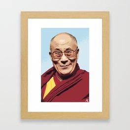 His Holiness the 14th Dalai Lama Celebrity Portrait Illustration Buddhist Pop Art Tibet Home décor Framed Art Print