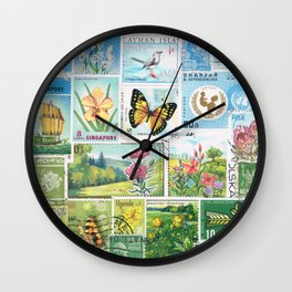 Whimsical Landscape - postage stamp art, butterflies & flowers Wall Clock