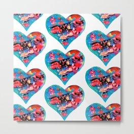 Tie-Dye Hearts Metal Print