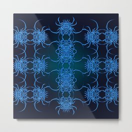 Tribal Crab Pattern Metal Print