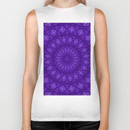 Ultra Violet and Purple Monotone Mandala Pattern Biker Tank