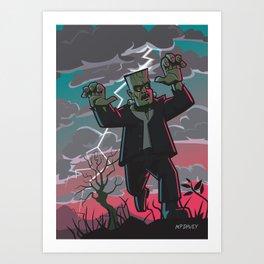 frankenstein creature in storm  Art Print