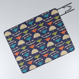 Retro Mid Century Modern Abstract Mobile 646 Blue Orange Olive and Beige Picnic Blanket