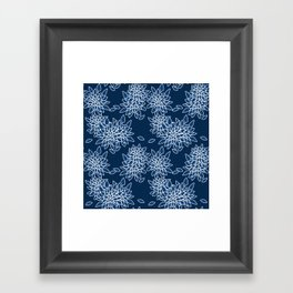 Blue abstract flowers . Framed Art Print