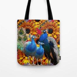 ORNATE BLUE PEACOCKS & GOLDEN SUNFLOWERS Tote Bag