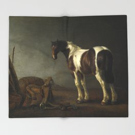 A Horse with a Saddle Beside it by Abraham van Calraet Throw Blanket