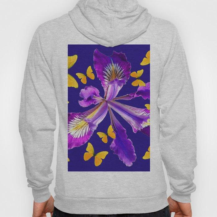 YELLOW BUTTERFLIES AMETHYST  PURPLE DUTCH IRIS FLOWER Hoody