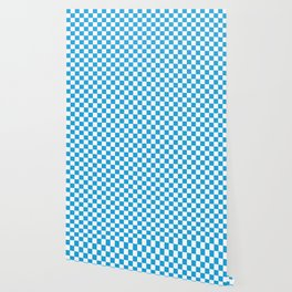 Oktoberfest Bavarian Large Blue and White Checkerboard Wallpaper