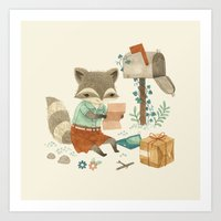 raccoon Art Prints featuring Raccoon Post by Teagan White