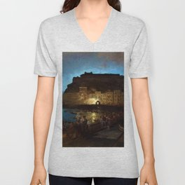 Fireworks in Naples by Oswald Achenbach Unisex V-Neck