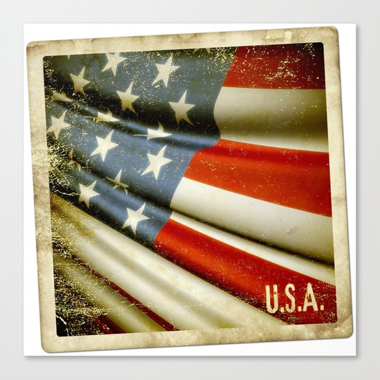 Grunge sticker of United States flag Canvas Print