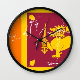 Sri Lanka flag with grunge effect Wall Clock