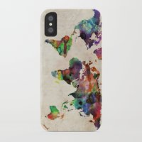 urban iPhone & iPod Cases featuring World Map Urban Watercolor by artPause