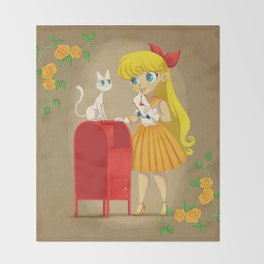 Retro Sailor Venus Throw Blanket