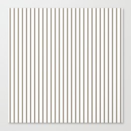 Mulch Brown Pinstripe on White Canvas Print
