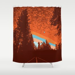 Two Lanes in the Fall Shower Curtain