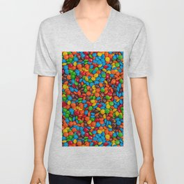 Colorful Candy-Coated Chocolate Pattern Unisex V-Neck