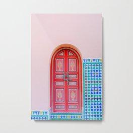 Exotic Red Door with Pink Marakkech Morocco Metal Print