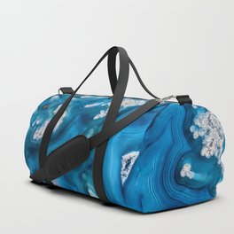 Frosted blue agate slice 3032 Duffle Bag
