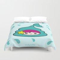 poop Duvet Covers featuring Mermaid Poo by CindyMakes