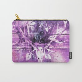 Ultra Violet Boho Skull and Antlers Carry-All Pouch
