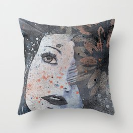 Lack Of Interest: Rust (graffiti dark lady with daisies) Throw Pillow